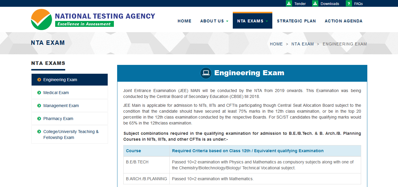 NTA Engineering Exams