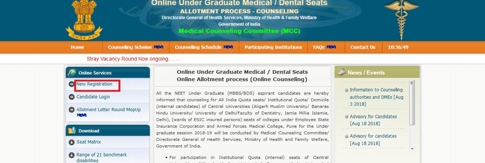 NEET 2019 Counselling New Registration
