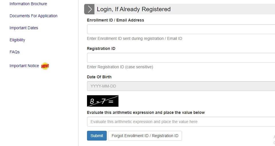 GATE Exam Application Form
