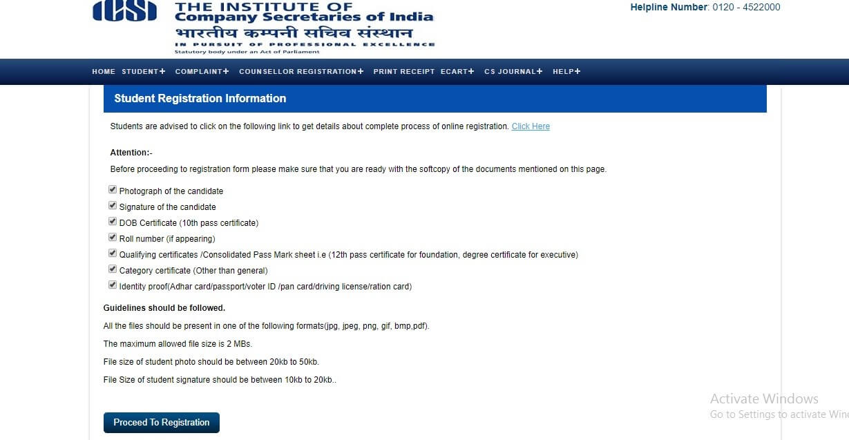 ICSI CS Executive Exam Registration