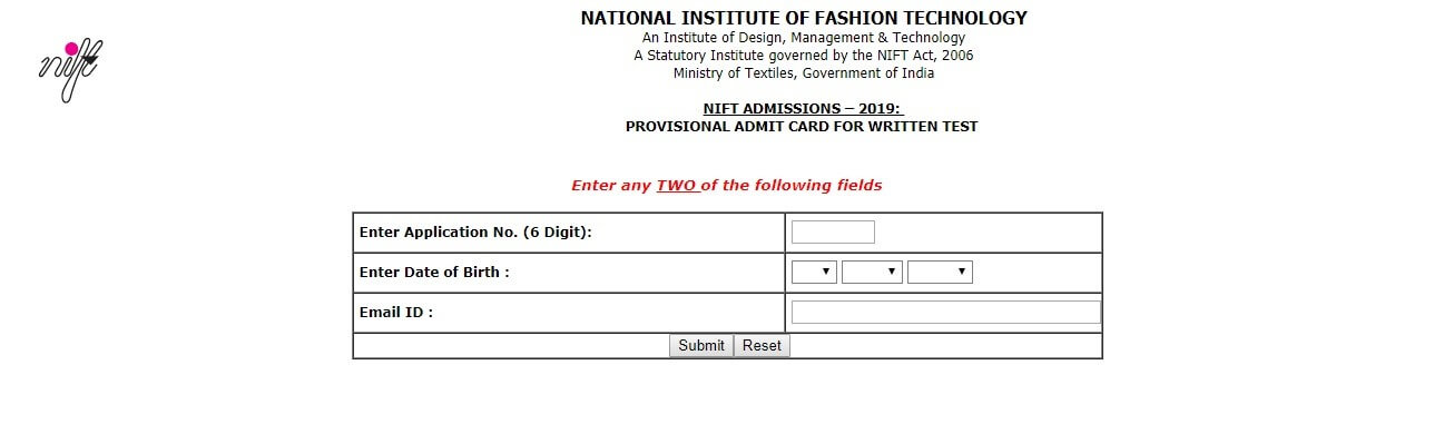 NIFT Admit Card Download