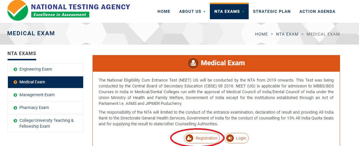 NTA NEET 2019 Registration