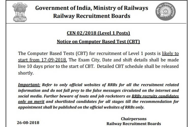 RRB Group D Vacancy Admit Card