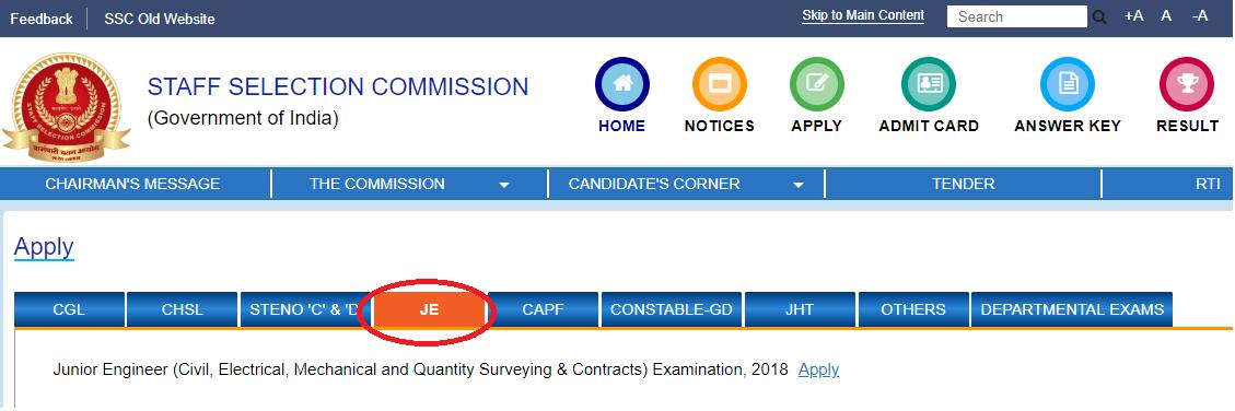 SSC JE Website
