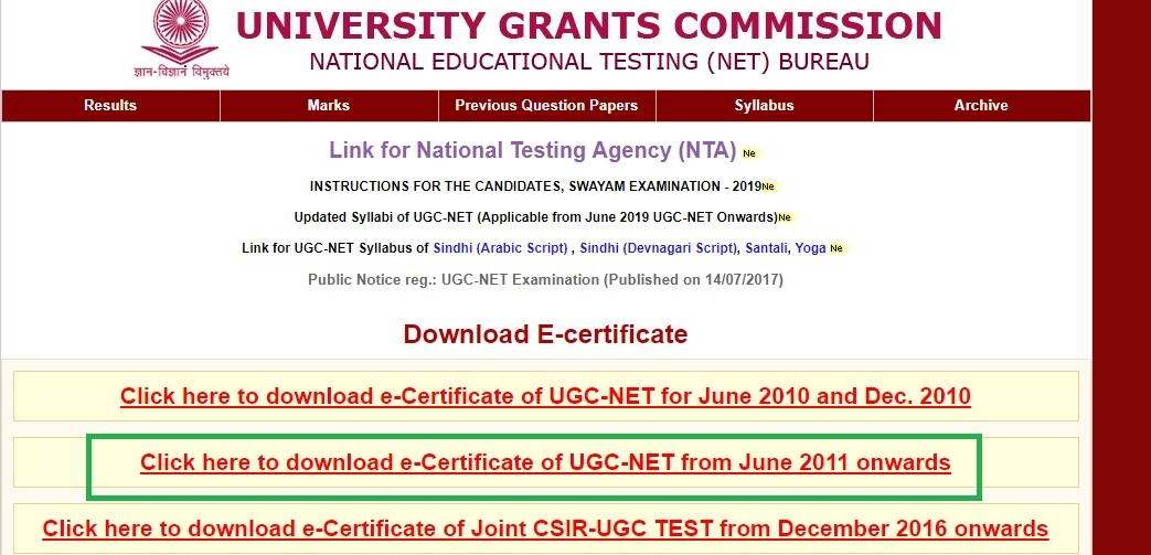 UGC NET Certificate Download